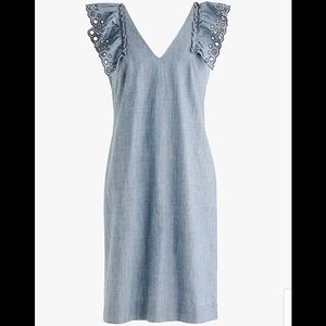 J.Crew Chambray Ruffled-Shoulder Sheat Dress